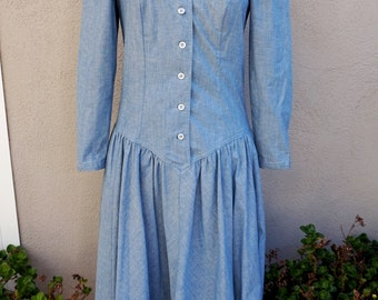 Vintage Denim Dress, Long Sleeve Dress, Button Up Dress, Cowgirl, Country Western, Drop Waist Dress, Cotton Long Denim Dress