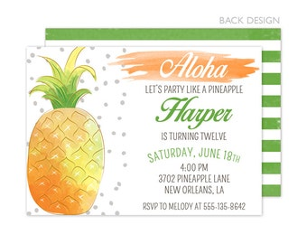 Pineapple Birthday Party Invitation | Printable OR Professionally Printed | 5x7 | Watercolor | Aloha | Tropical