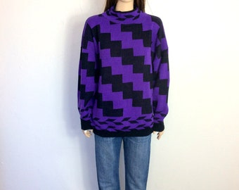 80's Sweater Large 90's Sweater Large Ugly Sweater Slouchy Sweater Purple Sweater Oversized Sweater Geometric Zig Zag Black D