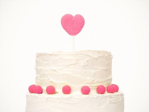 Heart Wedding Cake Topper - Needle Felted Heart Wedding Cake Topper - Fuchsia Pink Unique Country Wedding Cake Topper