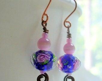 Blue and Pink Flower Earrings, Crystal Beaded Earring, Womens Jewelry, Antique Brass Earring, Blue Earrings, Pink Earrings