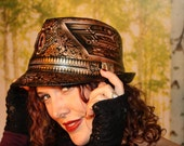Steampunk Keyhole Airbrushed and Hand Painted Fedora Hat with Moving Gears, Lotus Flower, Sacred Geometry, Victorian, Festival Couture