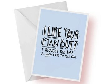 Valentine's Day Card- I Like Your Man Butt- Funny Valentine's Day Card For Boyfriend