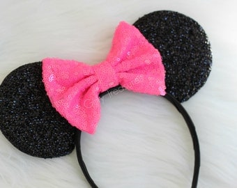 Neon Pink Mouse Ears. Girl Mouse Ears Headband. Womens Headband. Teen Headband. Mouse Ears Headband. Disney Headband.