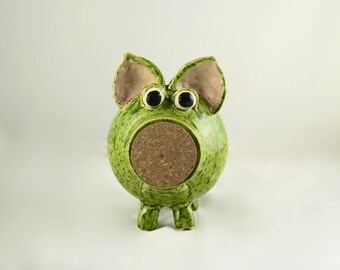 Herman - Kiwi Green Ceramic Piggy Bank, Hand Thrown Stoneware Pottery, handmade piggy bank, stoneware piggy bank
