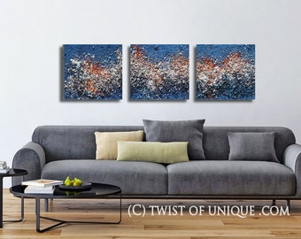Textured abstract painting/ Industrial painting / Abstract painting/ concrete painting/ 3 painting set / 15 x 15 /Blue , Orange, white/