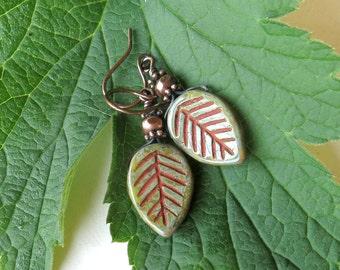 Leaf dangle earrings - green leaves Picasso Czech glass & copper beads