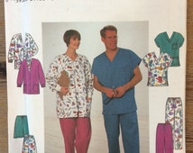 UNCUT Simplicity 8088 Men's and Women's Unisex Scrubs Sewing Pattern Pants, Shirt, Jacket, Shorts XS-M-L-XL
