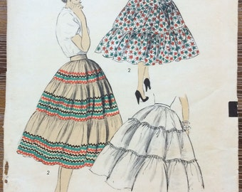 UNCUT Vintage 1950's Petticoat or Squaw Skirt Sewing Pattern Advance 6738