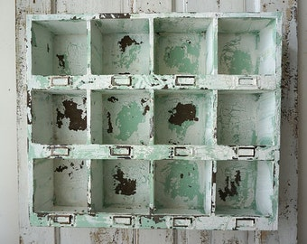 Cubby shelf organizer wall or table display distressed green w/ white shabby cottage chic storage cubbie  home decor anita spero design