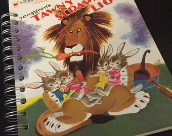 Tawny Scrawny Lion Little Golden Book Recycled Journal Notebook