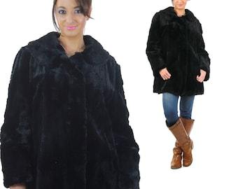 Vintage 40s Black fur coat muskrat  Hudson Seal fur jacket Bohemian fur jacket Boho Hippie Fur wrap M Medium