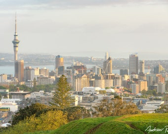 Auckland Sunrise Photograph - New Zealand Landscape - Auckland Skyline Photo - North Island, Sunrise Photography, HDR, Large Print