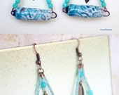 Earrings Triangle, Ceramic, hippie chic jewelry, tube earrings, jewelry boho, earring dangle, triangles, ceramic tube, chic hippie, hippies