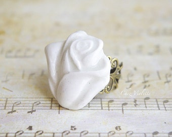 White Rose ring, Grey Rose ring, Filigree, Ceramic Rose, Romantic, Flower Jewelry, Floral jewelry, best gift for her, best selling