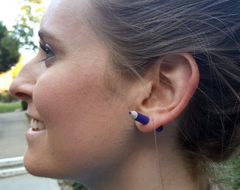 Colored Pencil Through Ear Earrings- Handmade Fake Gauge accessories, crafty, unique jewelry, trendy, art teacher