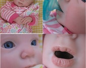 OPEN MOUTH reborn baby girl, holds a FULL pacifier & Faux formula bottle, Ready to ship!
