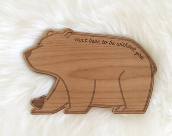 Cute Bear Shape Wood Card [Love / Five Year, Fifth, 5th Anniversary / Custom Anniversary Card / Valentine Card / Boyfriend or Girlfriend]