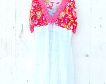 Half Off Clearance SALE Bohemian Dress  Gypsy Dress Upcycled Clothing for women - boho chic dress - free people inspired clothes
