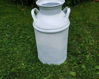 White Milk Can Metal milk can Farmhouse Decor