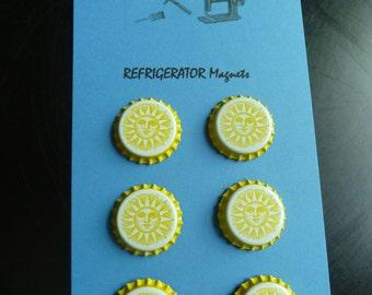 Refrigerator Magnets Yellow Sun Face Bottle Cap Bar Decor