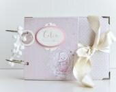 Baby Girl Scrapbook Album, Baby Girl First Year Book, Keepsake Journal, Milestone Book, Bunny Theme Album, Customized For Elise