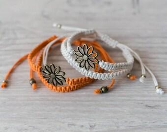 Best friend bracelet set Flower bracelet Couples set Macrame bracelet Friendship bracelet set Matching couple bracelets - set of 4