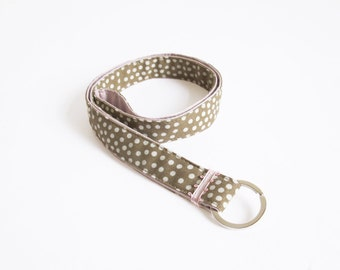 long lanyard handmade keychain dotted dots patterned fabric