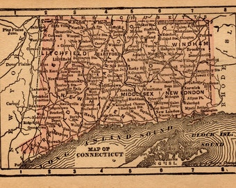 RARE Antique CONNECTICUT Map Antique MINIATURE Map of Connecticut Gallery Wall Art 1888 Map  Plaindealing 6915