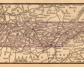 Tennessee State Map Etsy - Tennesse map