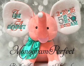 New  Exclusive Coral Personalized Birth Announcement Elephant