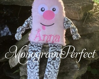 Personalized Light Pink Girly Monster Soft Toy