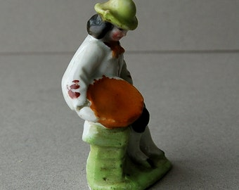 Antique 19th century Victorian Staffordshire figurine of a farmer Staffordshire ceramic figurine Victorian figurine Seated man with basket