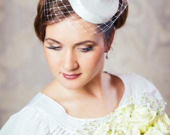 White Bridal Pillbox Hat with Birdcage Veil and Silk Flowers - White Bridal Fascinator - White Wedding Hat