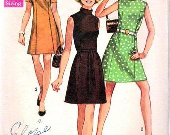 "Vintage 1969 Simplicity 8588 Mod Dress Sewing Pattern Size 10 Bust 32 1/2"""