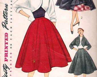 Vintage 1951 Simplicity 3773 Flared Skirt & Bolero Sewing Pattern Size 12 Bust 30""