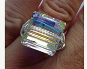 Sparkle Ring, Swarovski Ring, Wire Wrapped Ring, Princess Cut, Square Ring, Bling Ring,  Ready to Ship