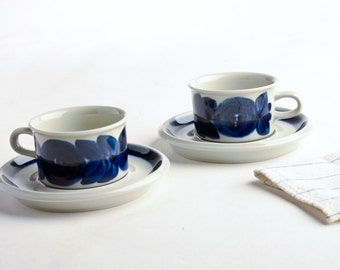 Vintage Arabia Finland Anemone blue espresso demitasse cup saucer set of two – Arabia Anemone cups and saucers blue – Scandinavian design