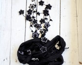 Silk Wrap Scarf, Black Boho Silk Wrap Necklace Scarf, Crochet Oya Flowers Foulard Beaded Jewelry Necklace Scarf Beadwork ReddApple