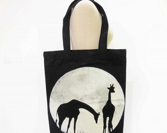 Giraffe Canvas Bag Giraffe Full Moon Animal Tote Bag Screen Print Handmade