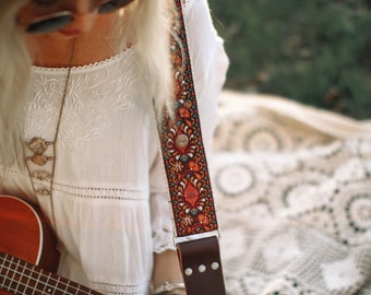 Guitar Strap - Red Peacock Feathers Woven Ribbon on Organic Hemp Webbing - Vintage Style Strap - Acoustic, Electric and Bass Guitars