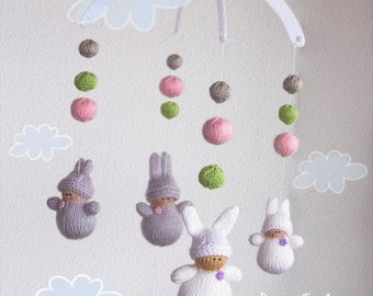 Waldorf Bunnies Babies Mobile - pdf knitting pattern. Knitted in the round.