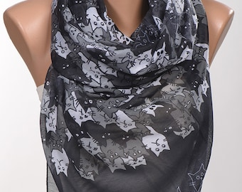 CATS Scarf Wrap. Shades of Gray Long Scarf Wrap. Spring neck wrap shawl. NEW Women neck wrap.