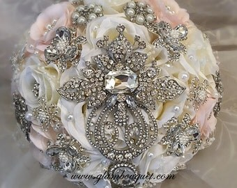 Elegant Brooch Bouquet, Pink and Off White Silk Flower Brides Brooch Bouquet,Jeweled Wedding Bouquet, Pink Brooch Bouquet, DEPOSIT ONLY