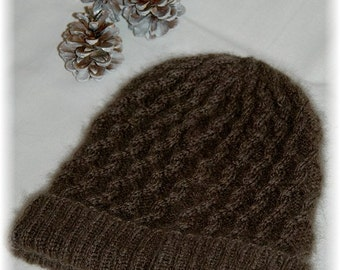 "Hat for Women ""Campania Island"", hand knit in soft and extremely warm 100% Qiviut (Musk ox Under Down) with cables - MADE TO ORDER"