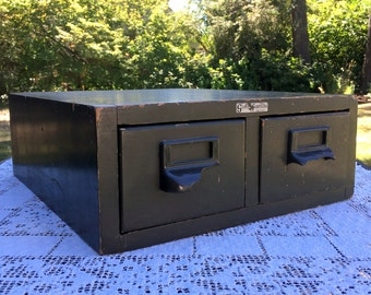 Globe Wernicke/2 Drawer Wooden File/Green Drawer File/Industrial Organizer/Library 3 x 5 Card File/Rustic Filing Box/Office Decor Photo Prop