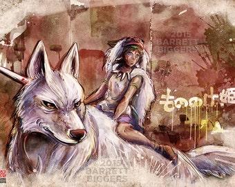 Princess Mononoke Wolf Girl Painting - signed museum quality giclée fine art print