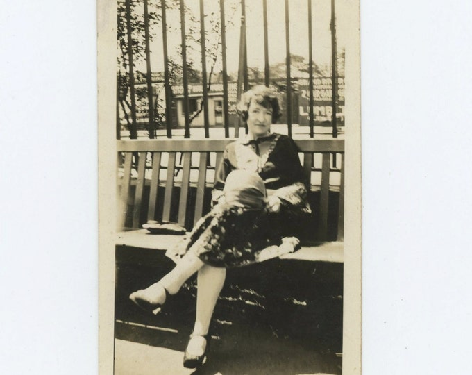 Vintage Snapshot Photo: Woman Seated on Bench, c1920s (69498)
