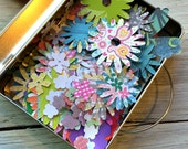 Flower Die Cut Paper Shapes - Paper Punches - Scrapbooking Flowers-  Journaling -  Paper Embellishments - package of 30