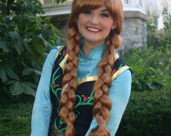 Anna Snow Princess Park Style Long Braids Pigtail Wig